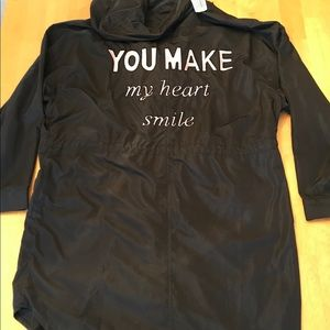 """You make my heart smile"" black coat"